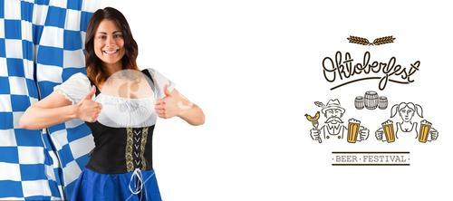Composite image of pretty oktoberfest girl showing thumbs up