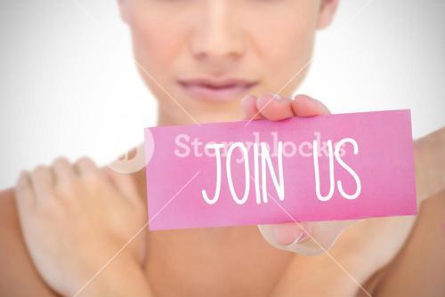 Join us against white background with vignette
