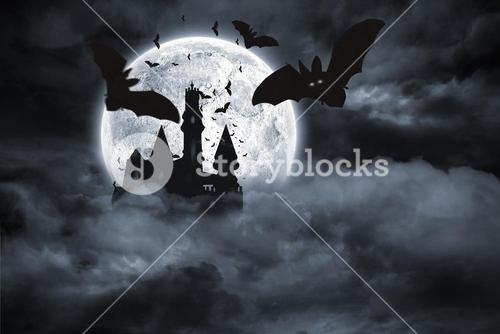 Bats flying from draculas castle