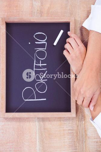 Chalkboard with portfolio text