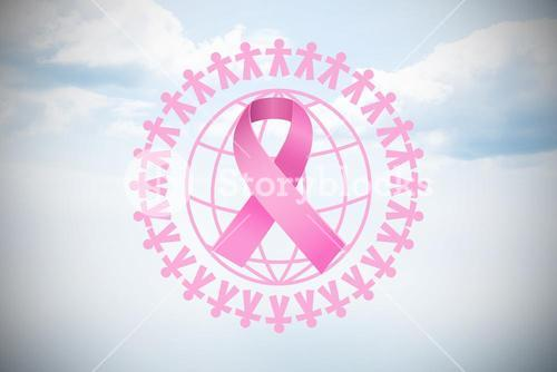 Composite image of pink earth for breast cancer