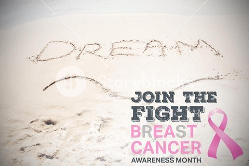 Composite image of breast cancer awareness message