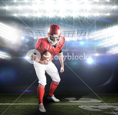 Composite image of portrait of focused american football player being ready to attack