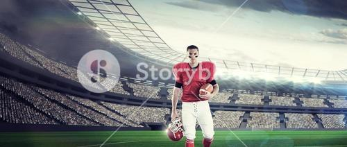 Composite image of portrait of american football player walking and holding football and helmet