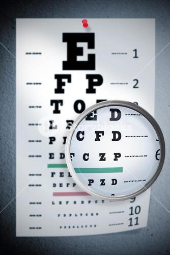 Composite image of magnifying glass
