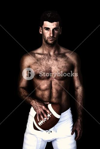 Composite image of portrait of a shirtless man holding ball