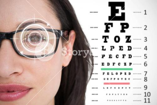Composite image of pretty brunette wearing eye glasses