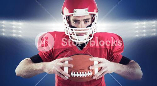 Composite image of portrait of focused american football player