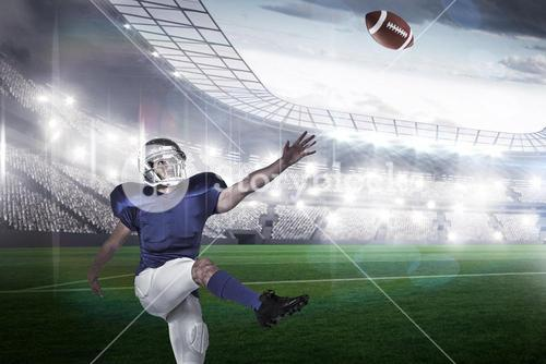 Composite image of american football player kicking