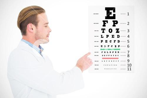 Composite image of optician in coat pointing eye test