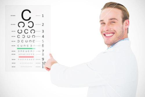Composite image of smiling optician pointing eye test