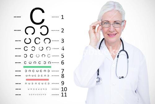 Composite image of portrait of smiling female doctor wearing glasses