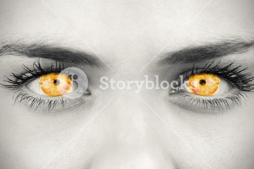 Composite image of blue eyes on grey face
