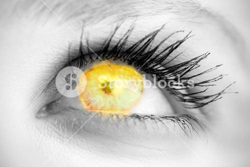 Composite image of blue eye on grey face