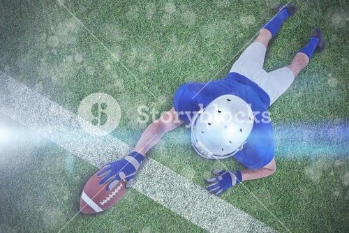 Composite image of full length rear view of american football player reaching towards ball