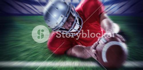 Composite image of sportsman struggling to catch the ball