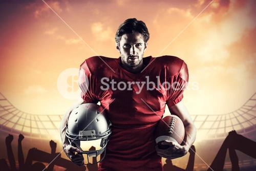 Composite image of confident american football player in red jersey holding helmet and ball