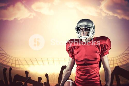 Composite image of american football player in red jersey looking away