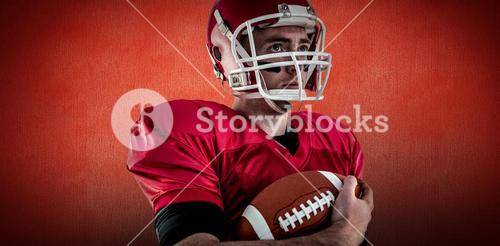 Composite image of american football player being ready for playing