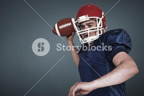 Composite image of american football player throwing the ball