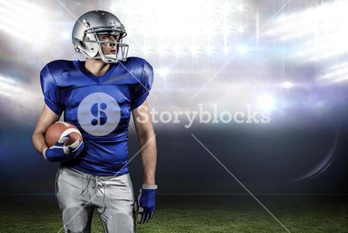 Composite image of confident american football player looking away
