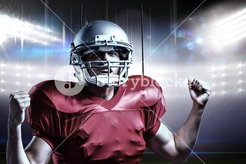 Composite image of portrait of american football player cheering with clenched fist
