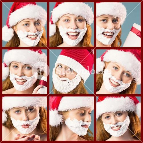 Composite image of festive redhead in foam beard
