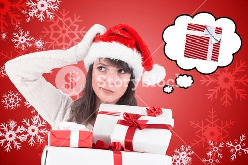 Composite image of santa woman scratching head and holding gifts