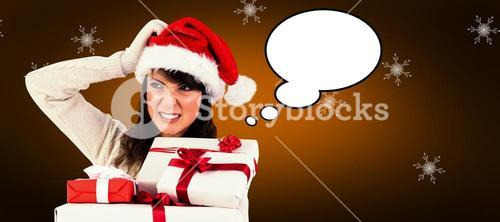 Composite image of cute brunette scratching head and holding gifts