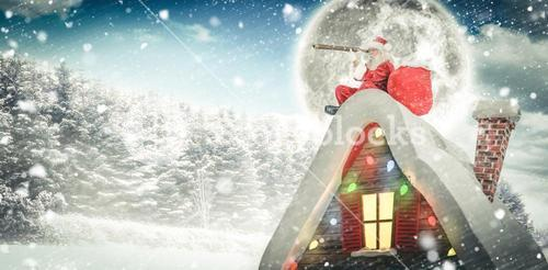 Composite image of santa sitting on roof of cottage