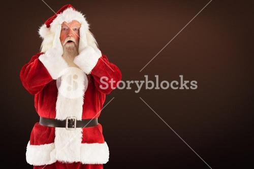 Composite image of santa is shocked to camera