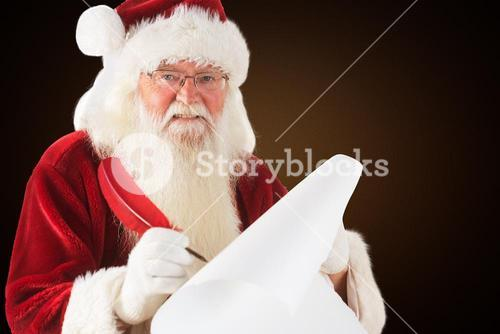 Composite image of santa claus writing on scroll