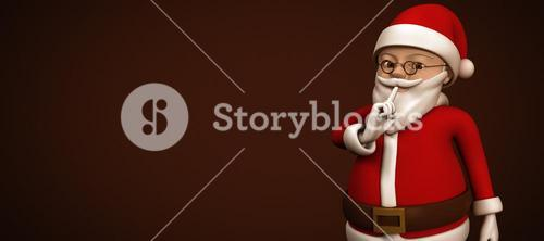Composite image of cartoon santa asking for quiet