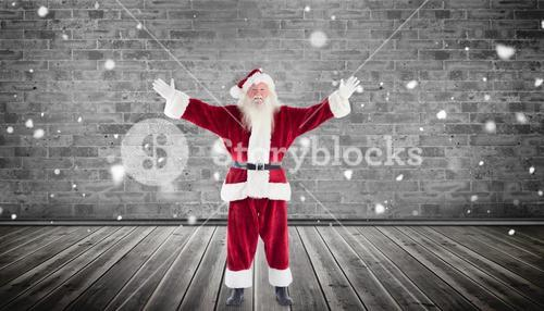 Composite image of santa with arms out