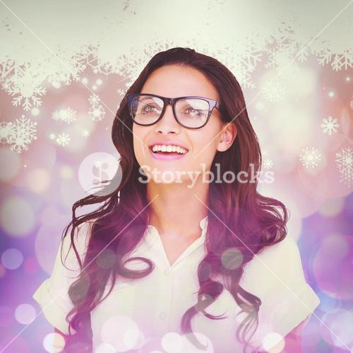 Composite image of pretty brunette in hipster glasses