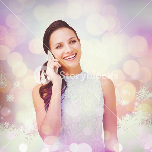 Composite image of brunette on the phone