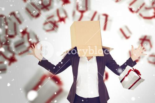 Composite image of anonymous businesswoman with her hands up