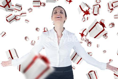 Composite image of businesswoman standing arms outstretched on white background