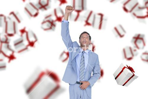 Composite image of full length of businessman with hand raised
