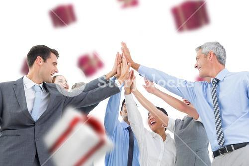 Composite image of business people doing hands checks