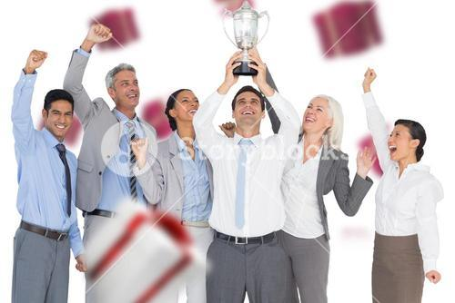 Composite image of business people holding cup and cheering