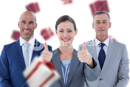 Composite image of business colleagues smiling at camera