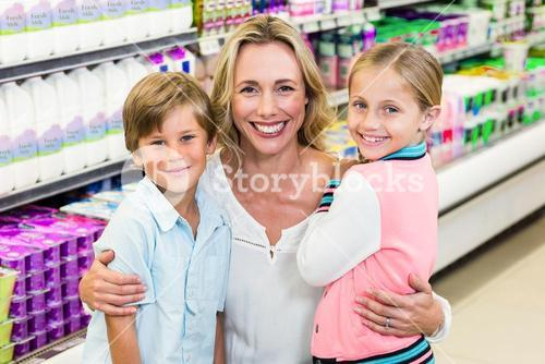 Portrait of beautiful mother with her children