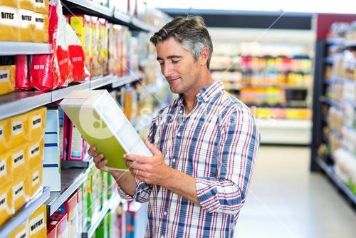 Man reading nutritional values
