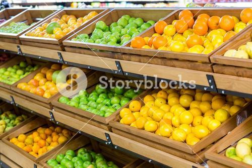 Vegetable shelf at the supermarket