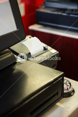 Machine printing receipt
