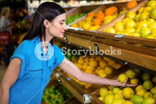 Portrait of a smiling woman picking lemon