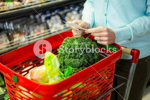 Mid section of a woman with grocery list