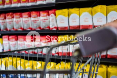 Cropped image of trolley in aisle
