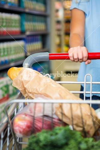 Cropped image of woman pushing trolley in aisle